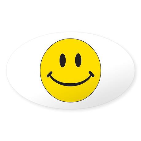 Big Yellow Happy Face Sticker (Oval 10 pk)
