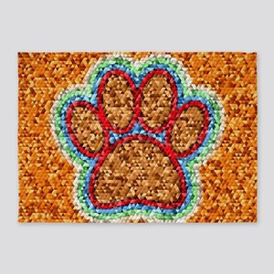 Low Polly Dog Paw Art 5'x7'Area Rug