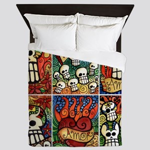 Day of the Dead Sugar Skulls Queen Duvet