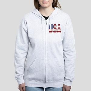 USA flag 2 Side Women's Zip Hoodie