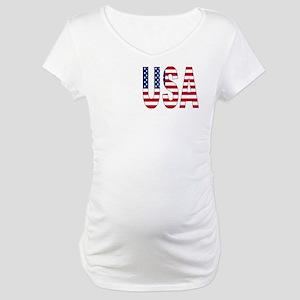USA flag 2 Side Maternity T-Shirt