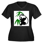 Single Panda Women's Plus Size V-Neck Dark T-Shirt