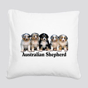 aussie pups with breed Square Canvas Pillow
