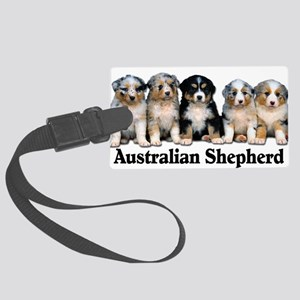 aussie pups with breed Large Luggage Tag