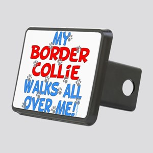 border collie walks Rectangular Hitch Cover