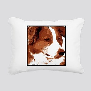 red border collie with border Rectangular Canv