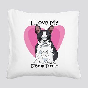 I Luv boston-3 Square Canvas Pillow