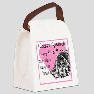 cocker spaniels paw prints Canvas Lunch Bag