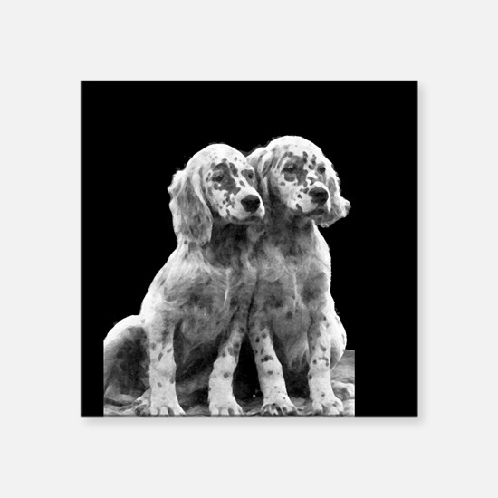 "English Setter Pups-2 Square Sticker 3"" x 3"""