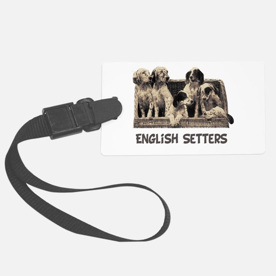 english pups with breed sepia use.png Luggage Tag