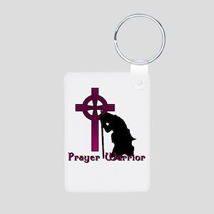 Prayer Knight Purple Aluminum Photo Keychain
