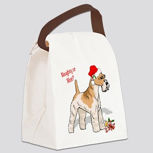 wire fox terrier santa naughty Canvas Lunch Ba