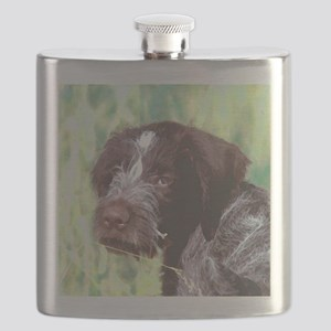 german wirehaired sq 2 watercolor Flask