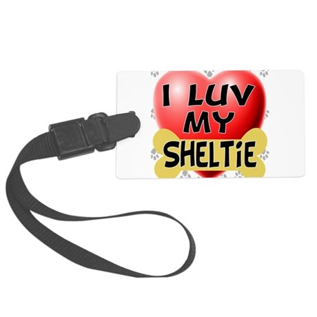 sheltie luv4.png Large Luggage Tag