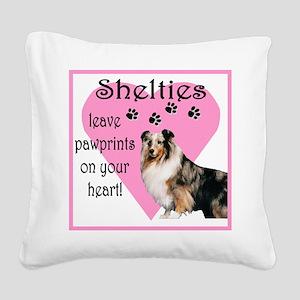 shelties paw prints2 Square Canvas Pillow