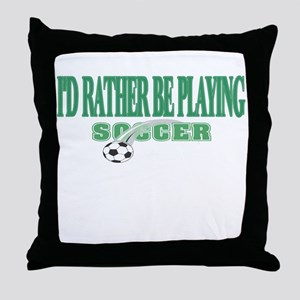 Playing Soccer Throw Pillow