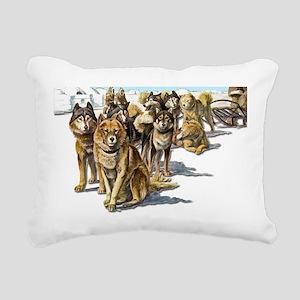 vintage husky sled3 Rectangular Canvas Pillow