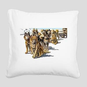 vintage husky sled3 Square Canvas Pillow