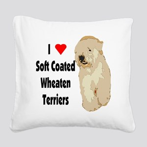 I heart wheaten1 new Square Canvas Pillow