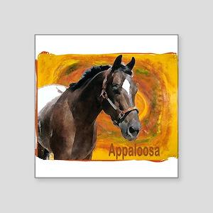 appy yellow swirls-rust border Square Sticker