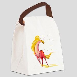 orange yellow unicorn glitter Canvas Lunch Bag