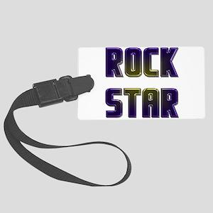 rock star black neon edges Large Luggage Tag
