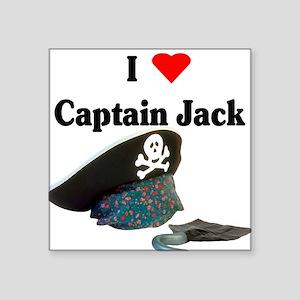 "I heart captain jack Square Sticker 3"" x 3"""