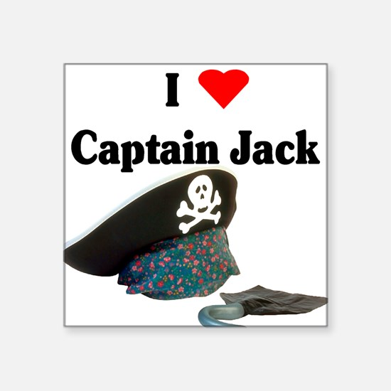 "I heart captain jack.png Square Sticker 3"" x 3"""