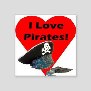 "I love pirates black2 Square Sticker 3"" x 3"""