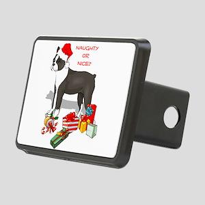 Boston Terrier Santa no back black Rectangular