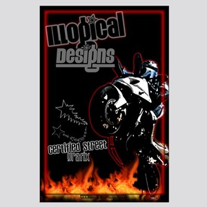 ILLogical Designs Large Motorcycle Wheelie Poster