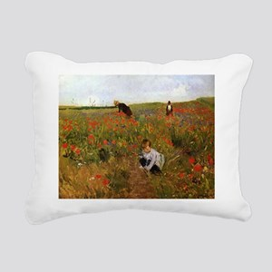 Poppies In The Field Rectangular Canvas Pillow