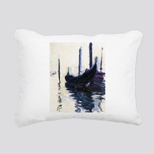 Monet Gondola in Venice Rectangular Canvas Pillow