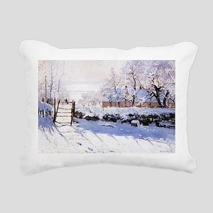 Claude Monet The Magpie Rectangular Canvas Pillow