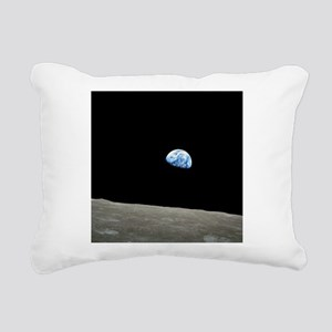Earth Rise From Moon Rectangular Canvas Pillow