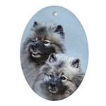 Keeshond Brothers Oval Ornament