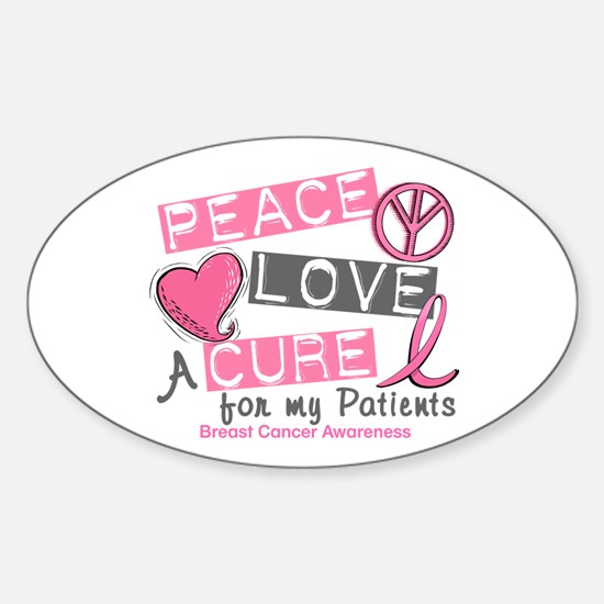 Peace Love A Cure For Breast Cancer Sticker (Oval)
