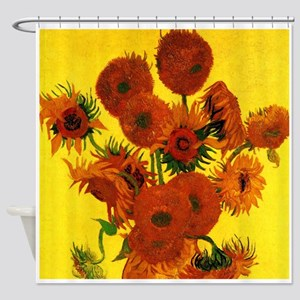 Van Gogh 15 Sunflowers (High Res) Shower Curtain