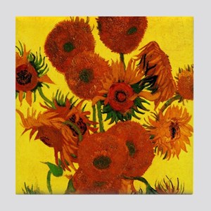 Van Gogh 15 Sunflowers (High Res) Tile Coaster