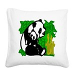 Panda and Baby Square Canvas Pillow