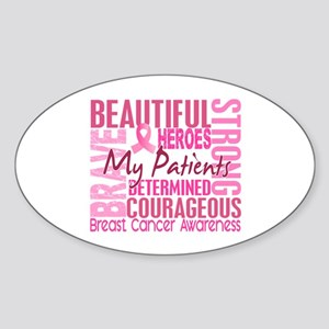 Tribute Square Breast Cancer Sticker (Oval)