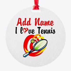 I LOVE TENNIS Round Ornament