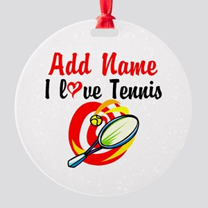 I LOVE TENNIS Round Ornament