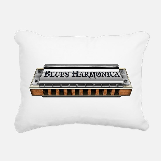 Blues Harmonica Rectangular Canvas Pillow