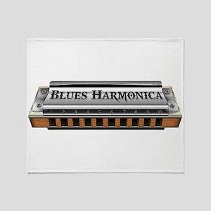 Blues Harmonica Throw Blanket