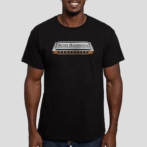 Blues Harmonica Men's Fitted T-Shirt (dark)