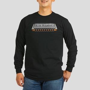Blues Harmonica Long Sleeve Dark T-Shirt