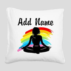 I LOVE YOGA Square Canvas Pillow