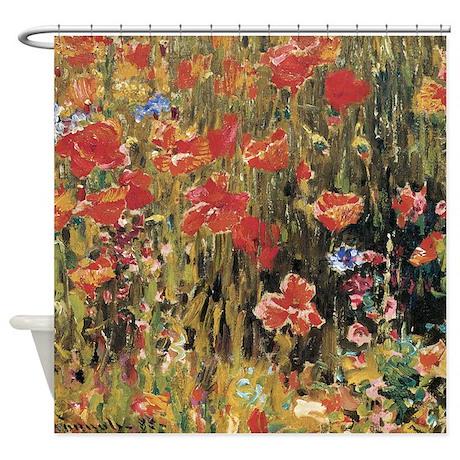 Robert Vonnoh Poppies Shower Curtain by america_tshirts
