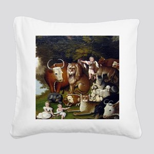 Edward Hicks Peaceable Kingdom Square Canvas Pillo